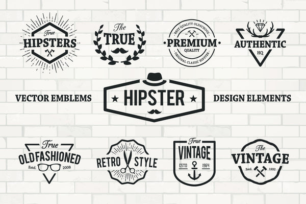 Hipster Emblems Set - Retro Mart