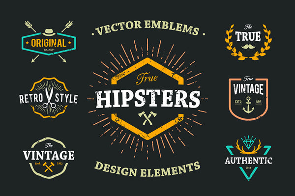 True Hipster Vector Set - Retro Mart