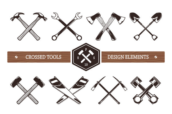 Crossed Work Tools - Retro Mart