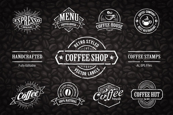 Hand-drawn Coffee Stamps #2 - Retro Mart