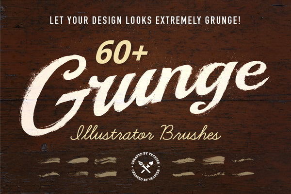 60 Grunge Illustrator Brushes - Retro Mart