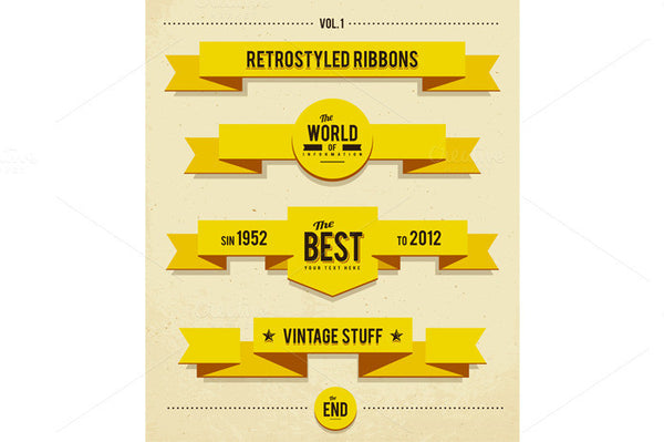 Flat Retro Ribbons - Retro Mart