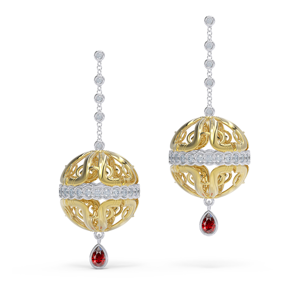 18kt Gold diamond and ruby earrings by Alice Herald