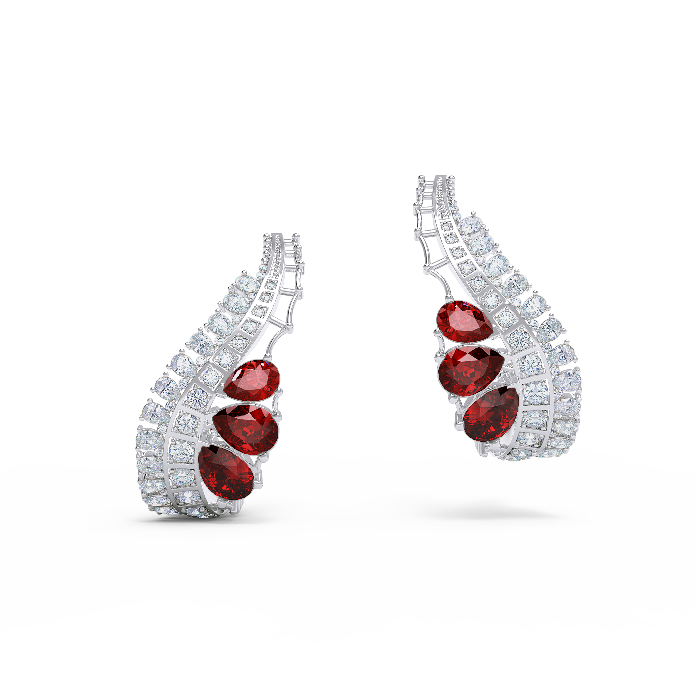 Diamond and ruby earrings by Alice Herald