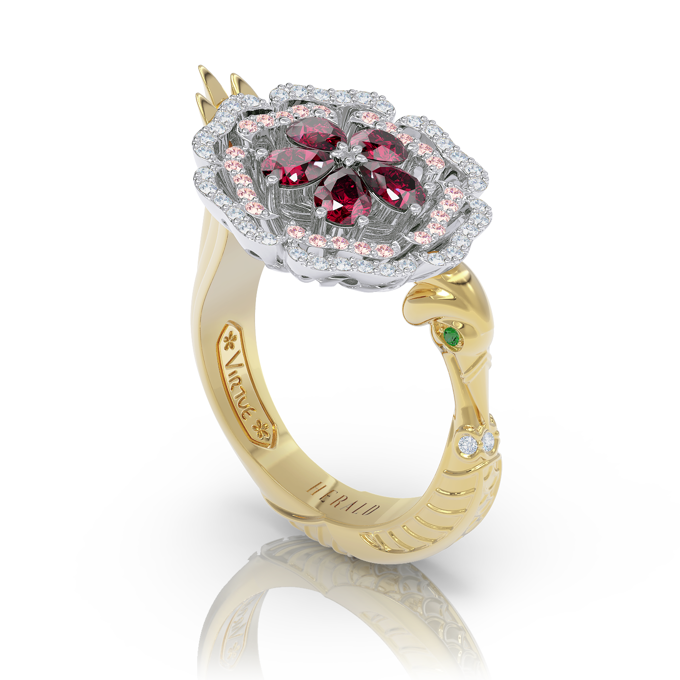 Diamond sapphire and ruby pinky ring by Alice Herald