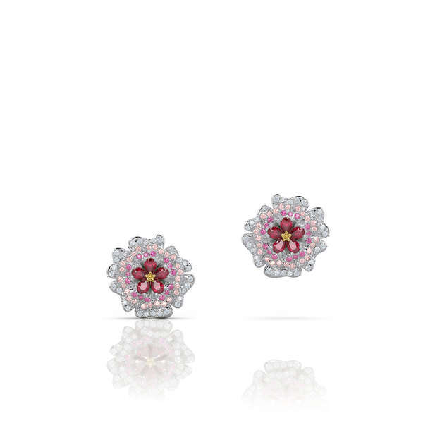 Herald ruby sapphire and diamond rose bud stud earrings