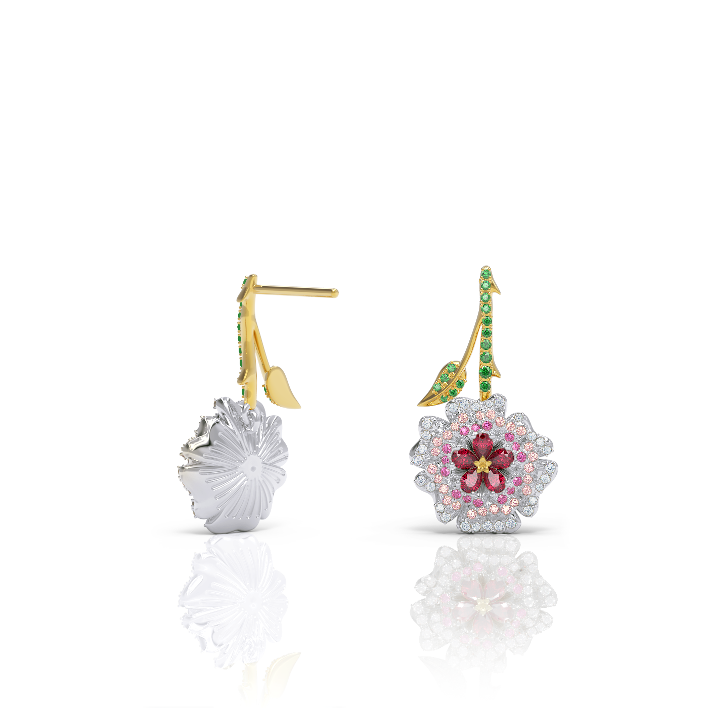 Rose bud ruby sapphire diamond drop earrings by Alice Herald