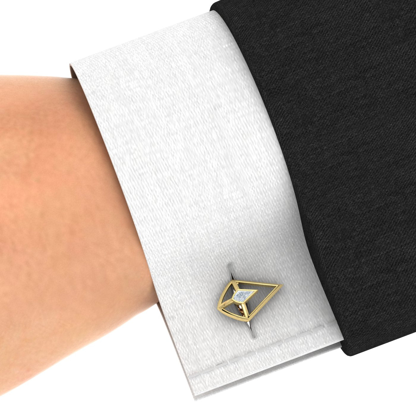 Kite Diamond Gold Cufflinks by Alice Herald