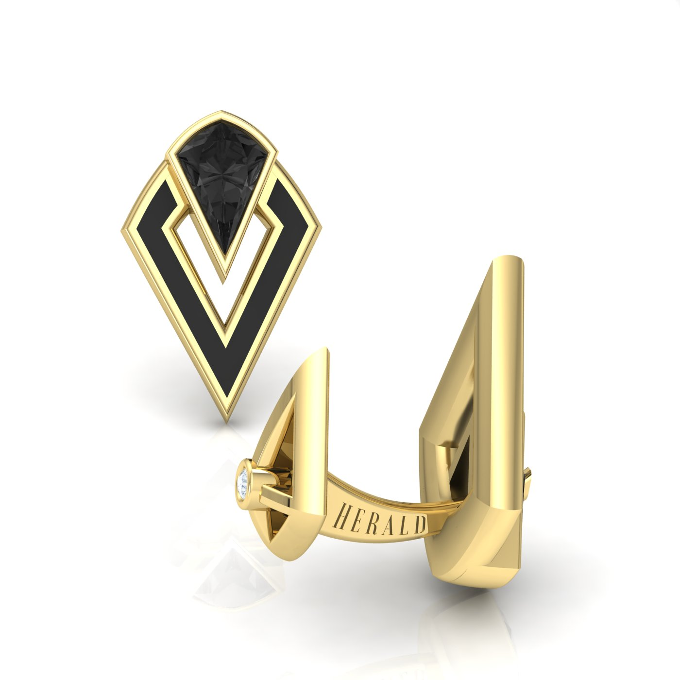 Onyx gold and enamel cufflinks by Alice Herald