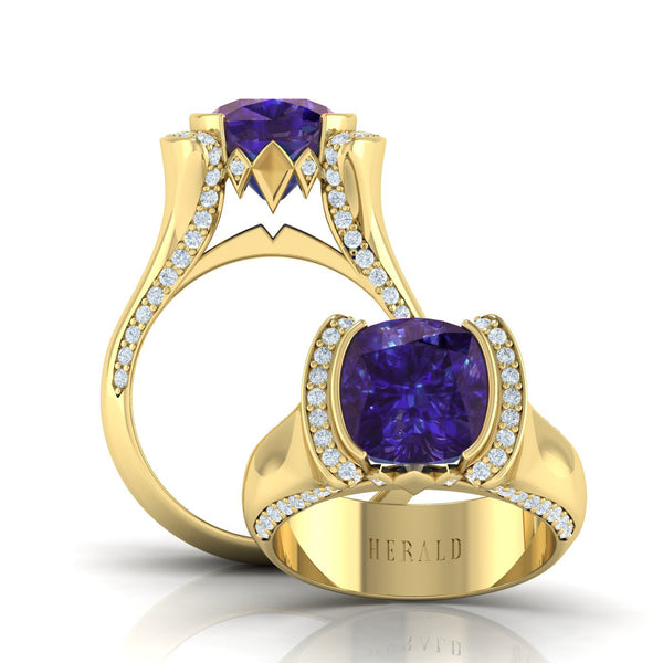 18kt yellow gold tanzanite and diamond ring