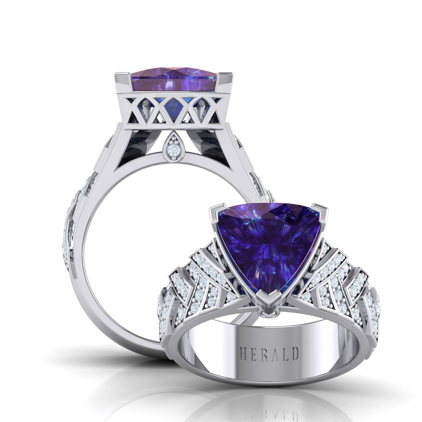 Tanzanite and Diamond Ring in 18kt white gold