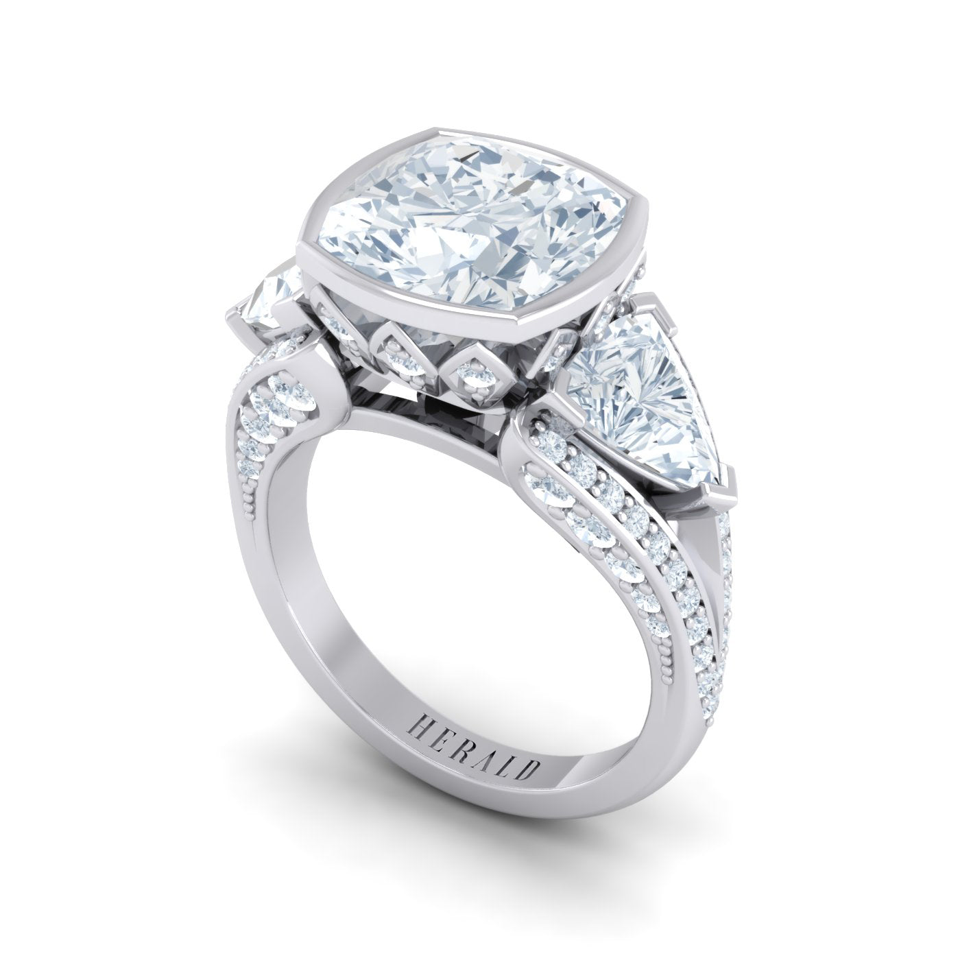 Cushion Diamond and Trilliant Diamond Dress Ring by Alice Herald