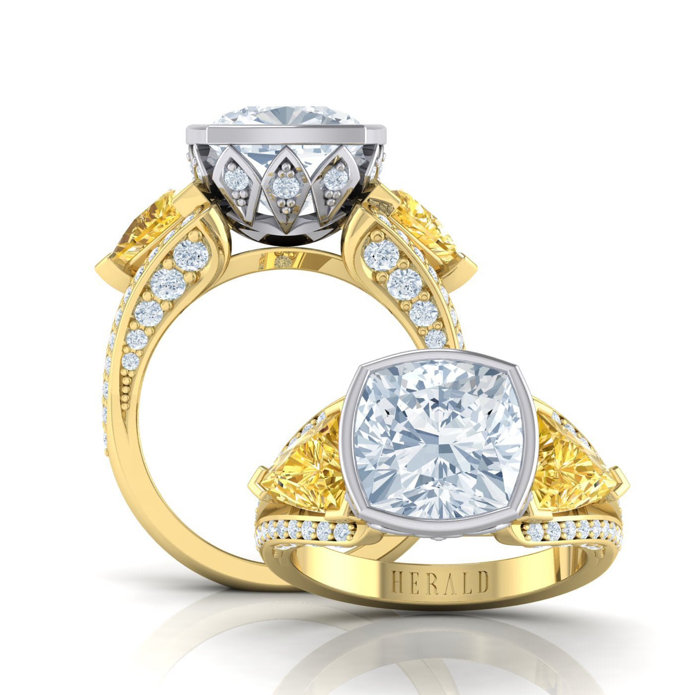 Cushion diamond and yellow diamond dress ring by Alice Herald