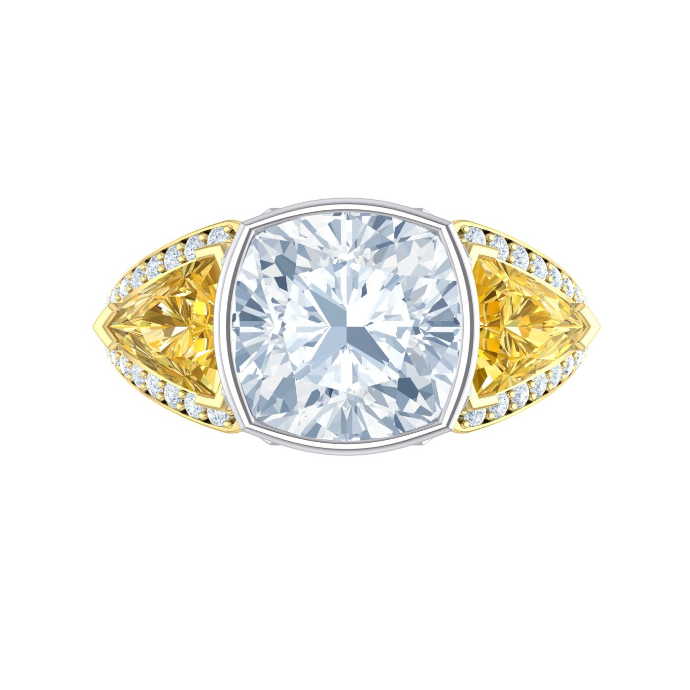 Cushion Diamond and Yellow Diamond Dress Ring