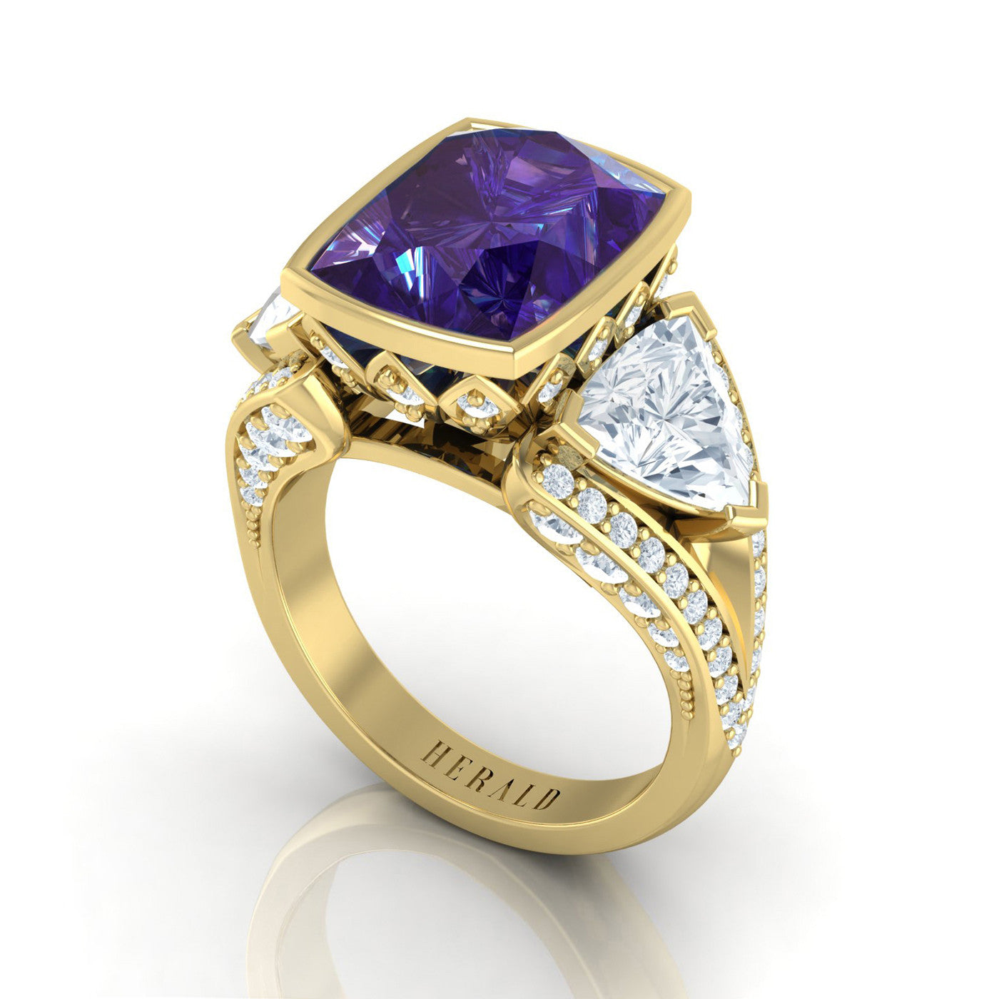 Tanzanite and Diamond Ring in 18kt yellow gold