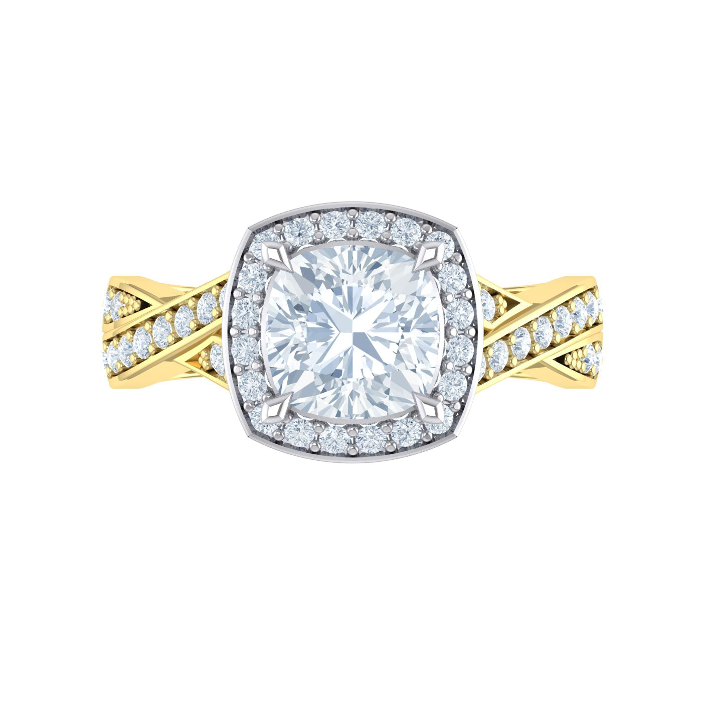 Alice Herald Cushion Halo Diamond Engagement Ring