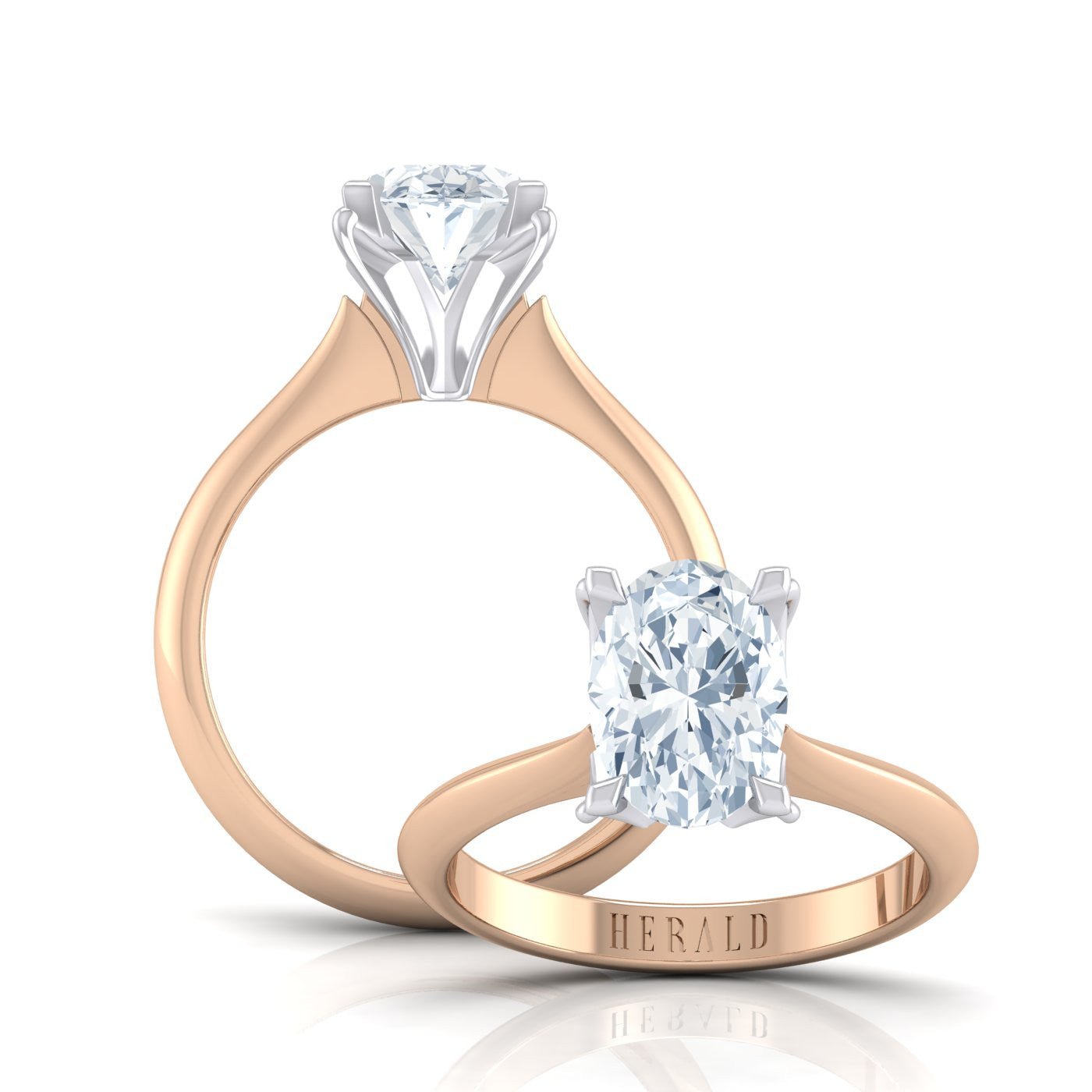 18kt Rose Gold and Platinum Diamond Engagement Ring