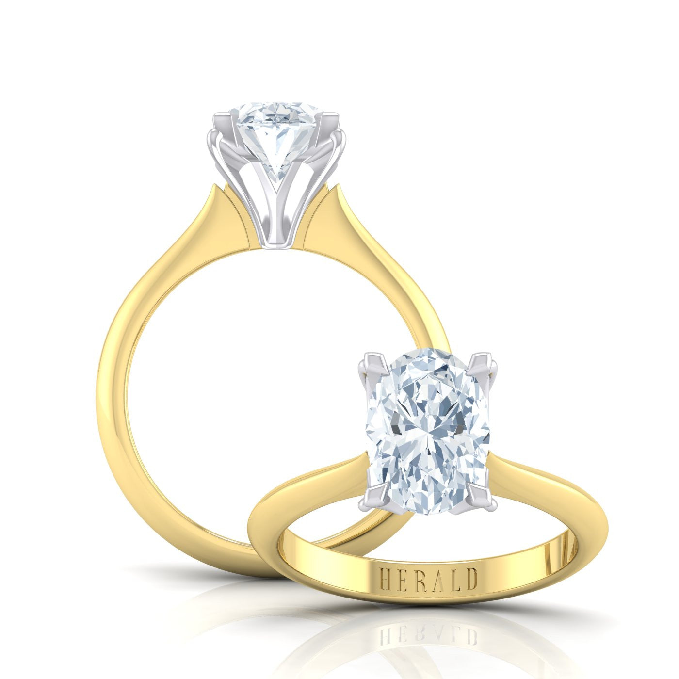 18kt Yellow Gold and Platinum Diamond Engagement Ring