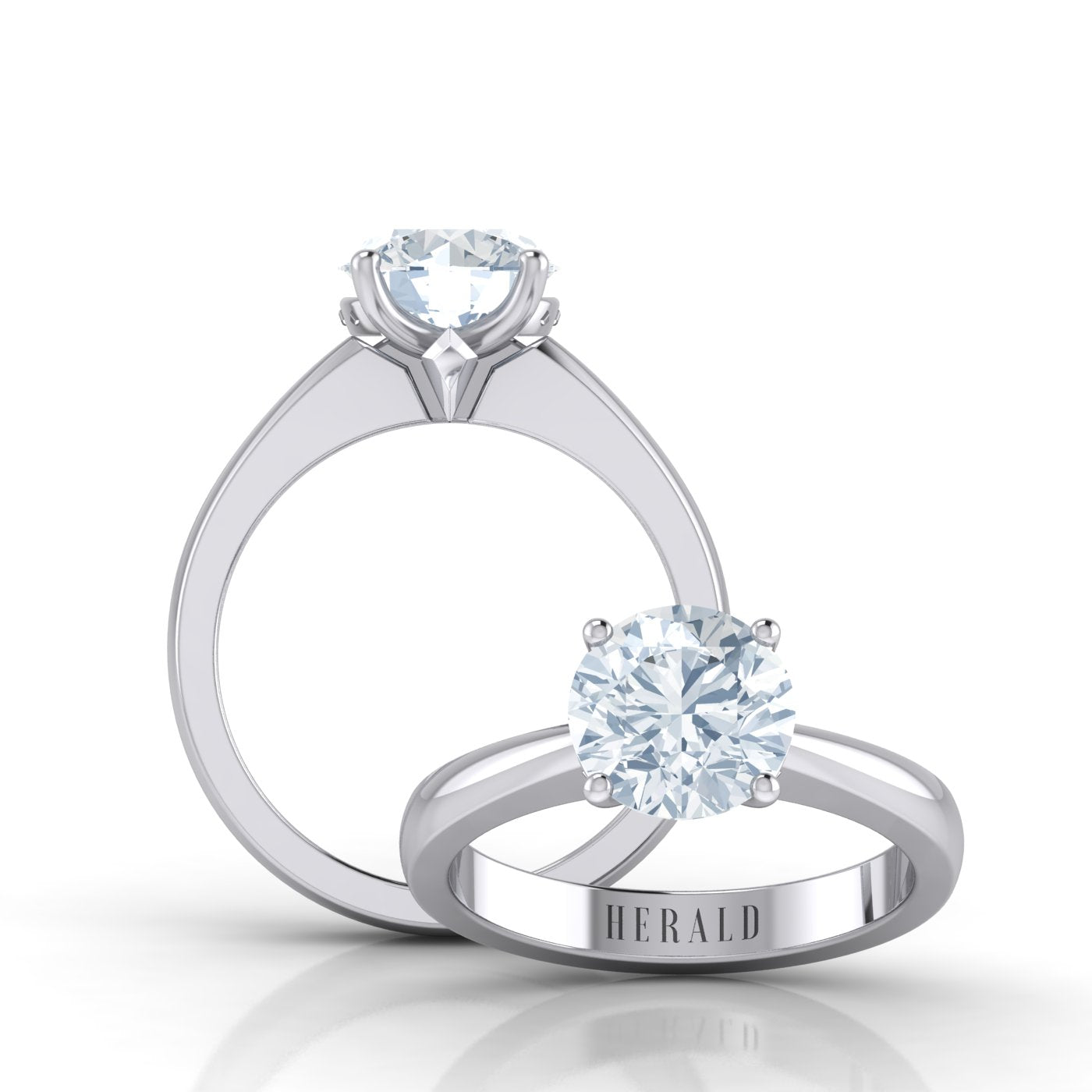 Alice Herald's 4 claw solitaire engagement ring in platinum