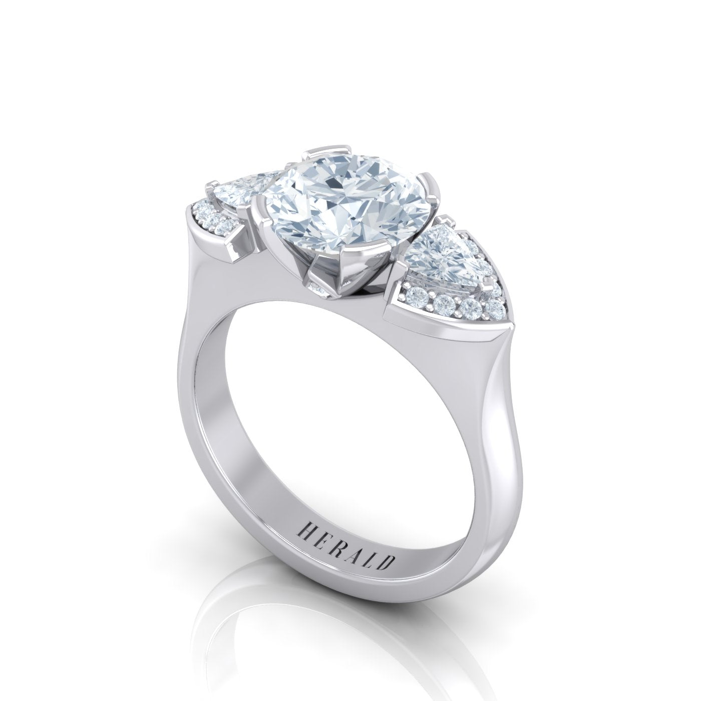Alice Herald 3 stone diamond engagement ring in 18kt gold
