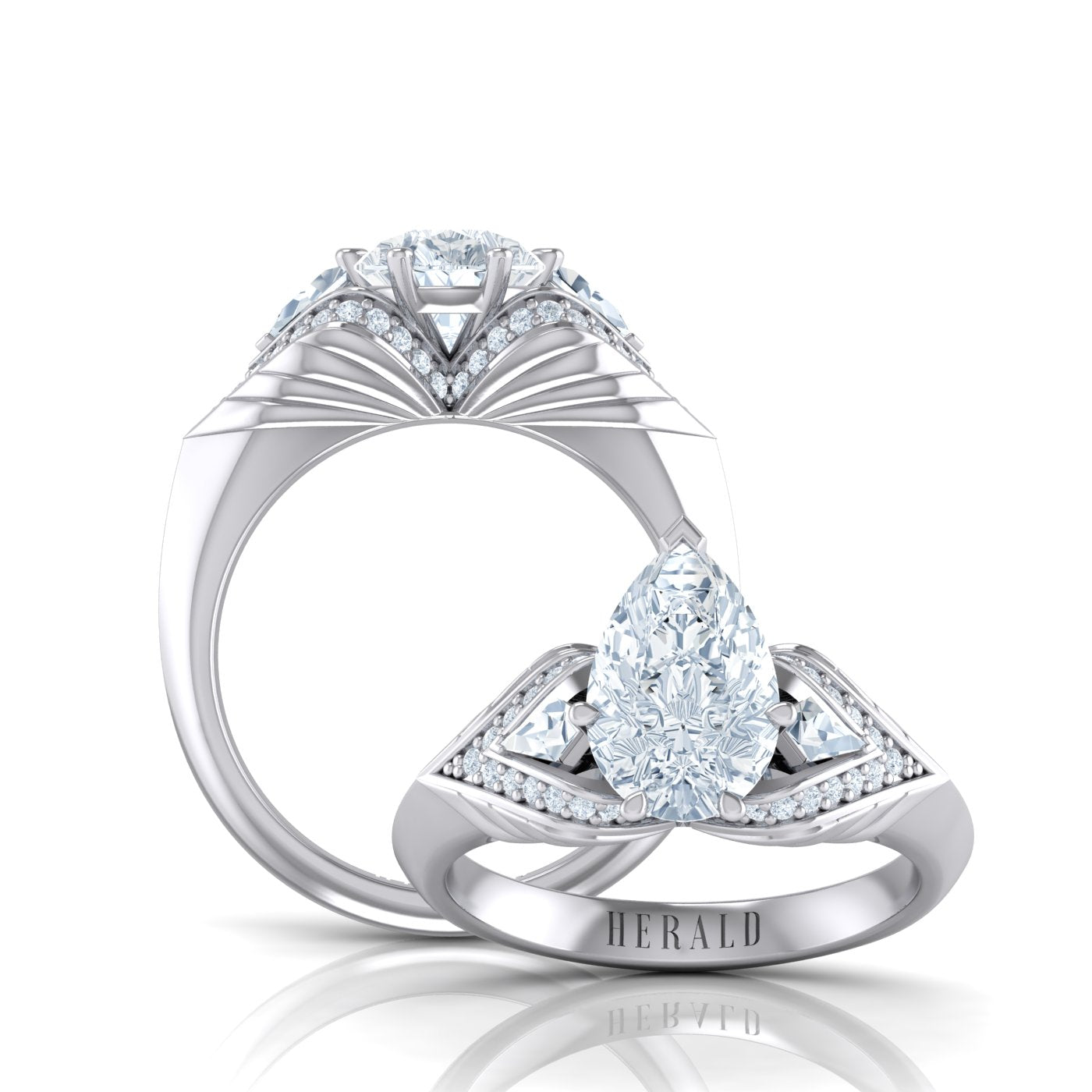 Alice Herald Platinum Pear Diamond Ring