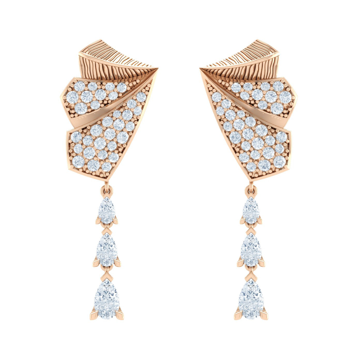 Diamond Engraved Earrings