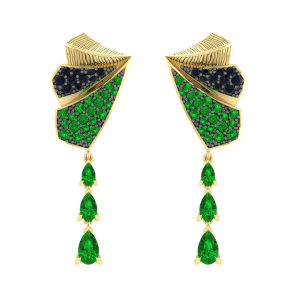 Tsavorite and Sapphire Earrings in 18kt Gold