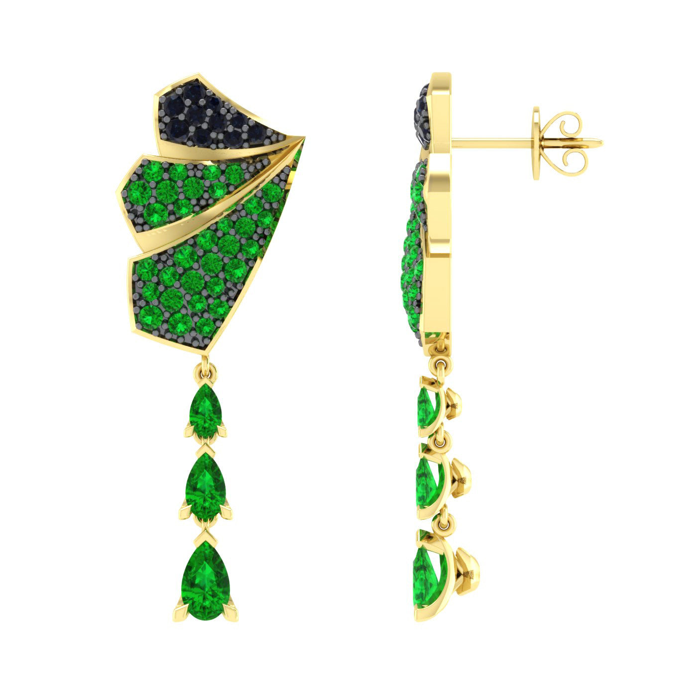 Sapphire and Tsavorite Earrings in 18kt Gold