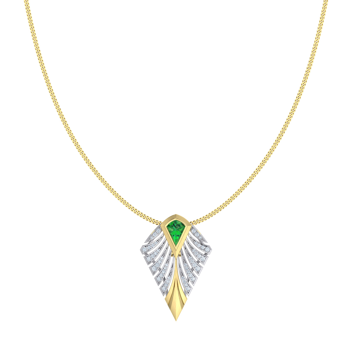 Diamond tsavorite and gold pendant by Alice Herald