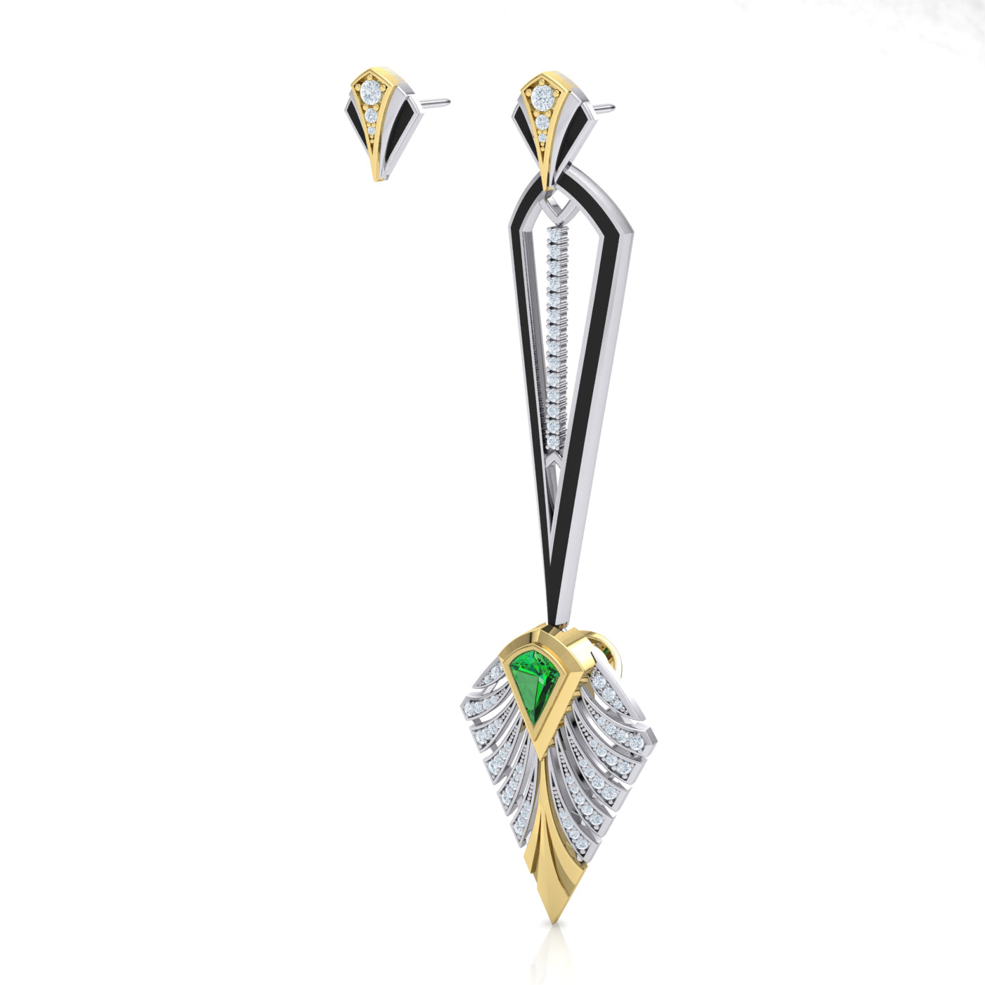 Asymmetrical Diamond Couture Earring in 18kt gold