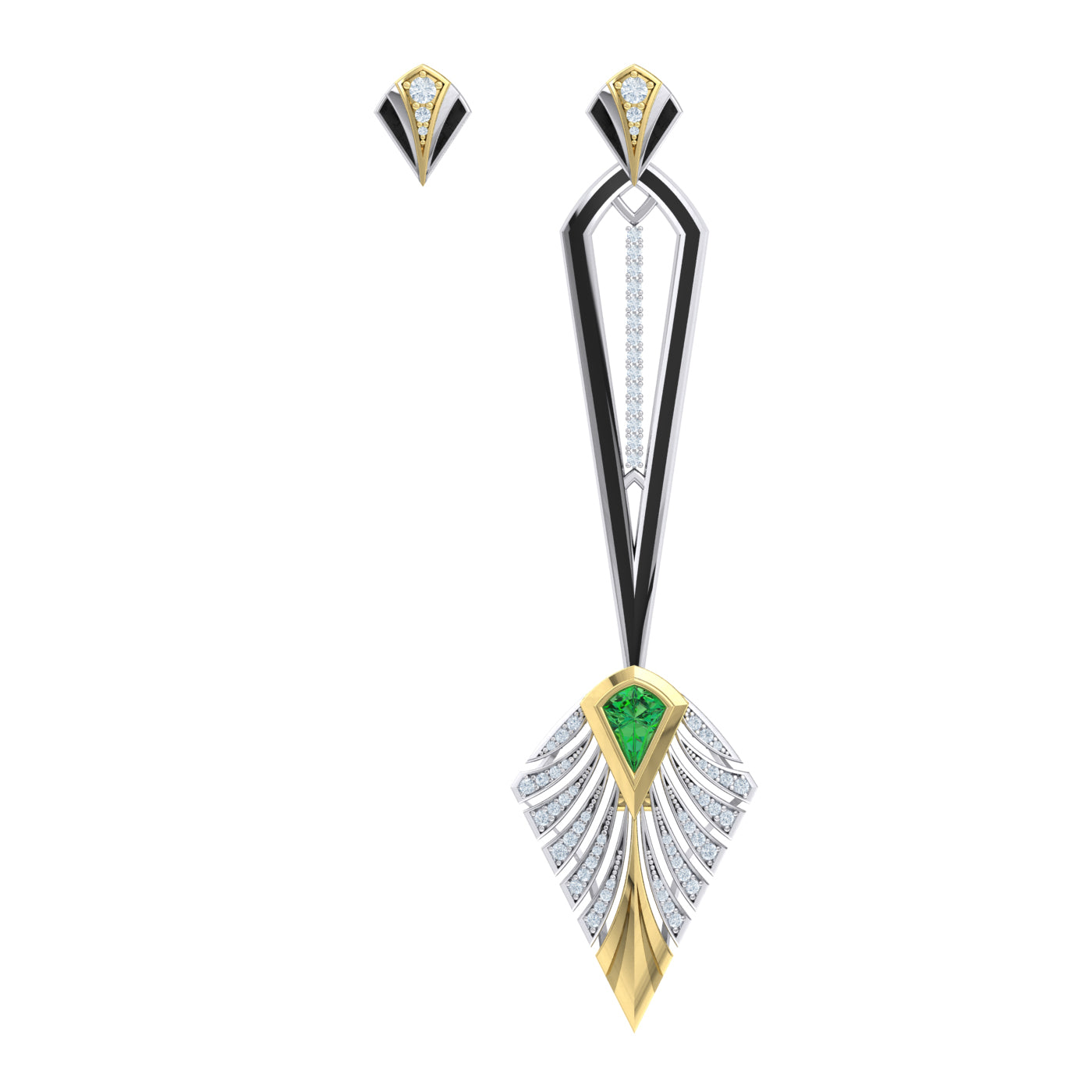 Asymmetrical Earring in 18kt gold
