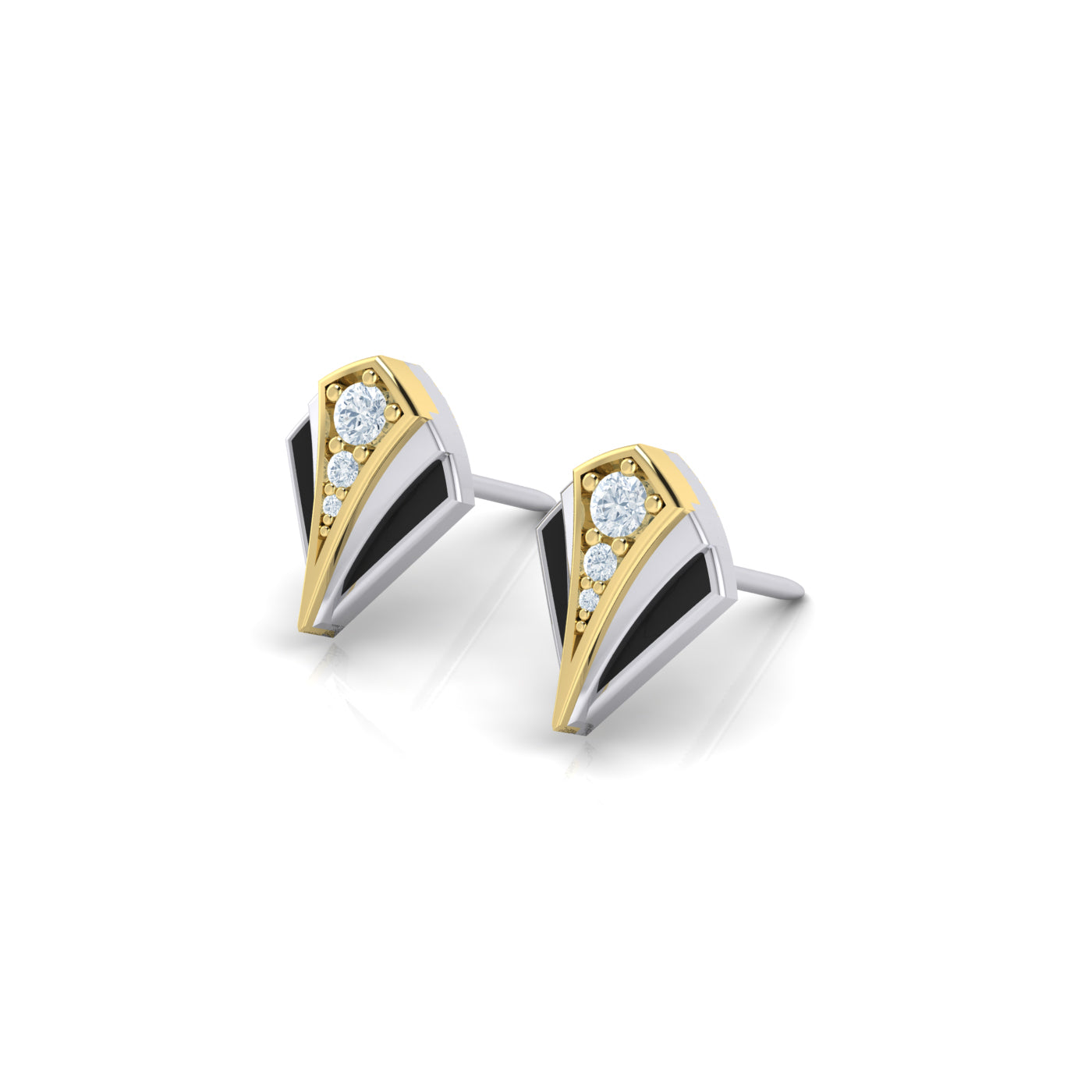 gold and enamel stud earrings
