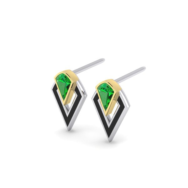 Racket Stud Earrings in gold and tsavorite