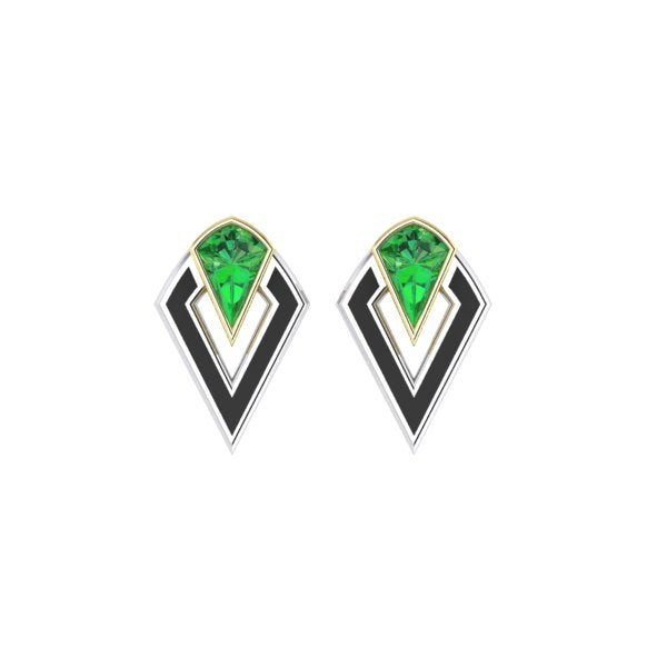 racket stud earring in tsavorite and gold