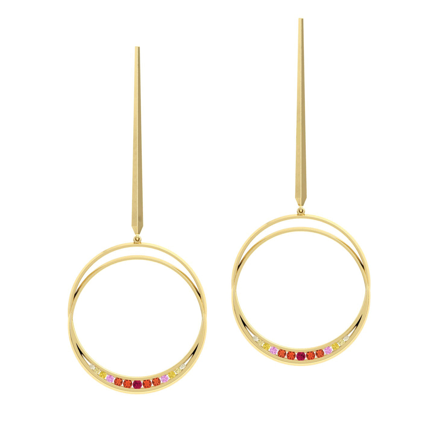 Eclipse Drop Earrings in 18kt yellow gold from Herald Diamond Couture