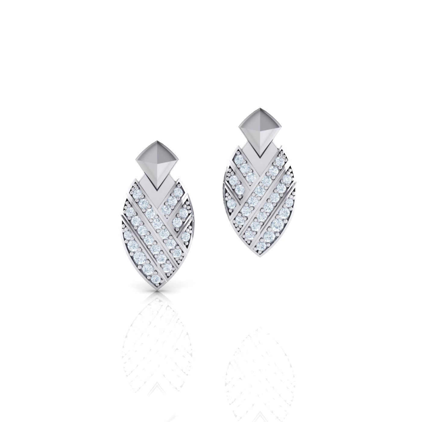 Diamond Earrings in 18kt White Gold