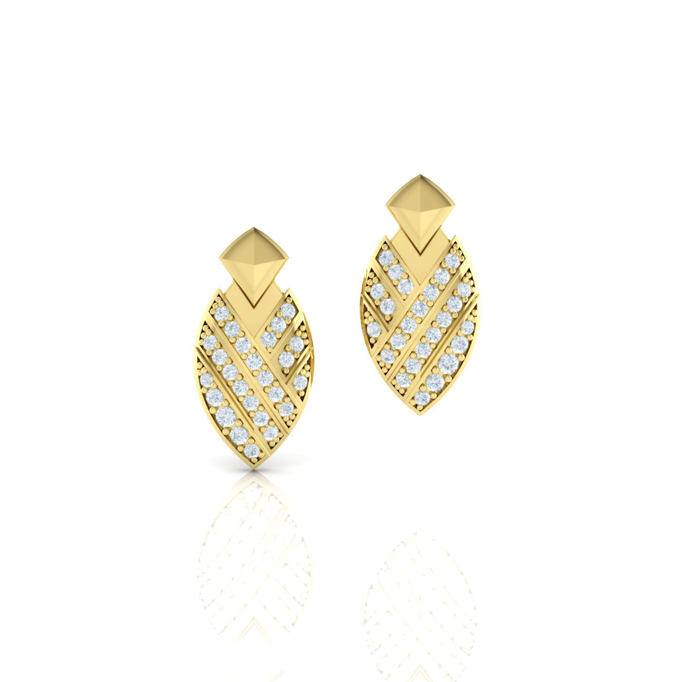 Diamond Earrings in 18kt Yellow Gold