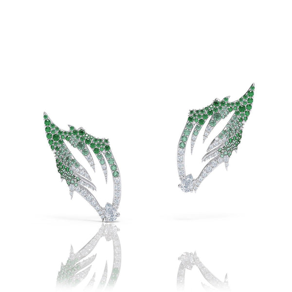 diamond emerald sapphire earrings by Alice Herald