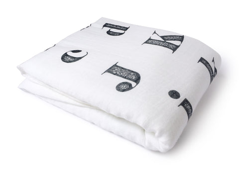 folded vintage alphabet bamboo cotton swaddle blanket