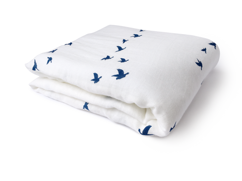 folded counting birds bamboo cotton swaddle blanket