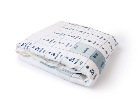 folded periodic table chemistry bamboo cotton swaddle blanket