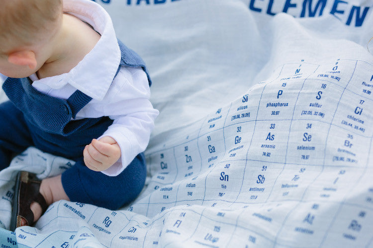 baby on periodic table swaddle blanket