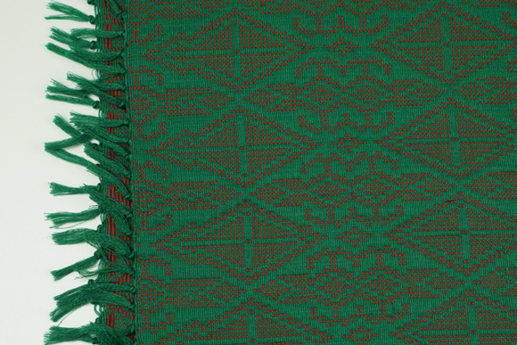 Green and Red Table Runner - Woven Crafts