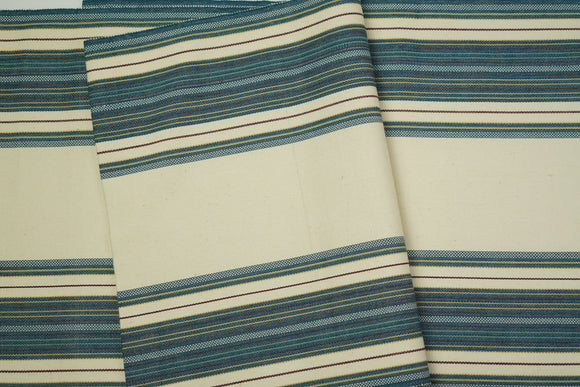 Cream and Dark Teal Cotton Fabric - Woven Crafts