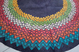 Dark Blue Circular Mat - Woven Crafts