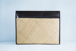 Natural (Black) Laptop Sleeve - Woven Crafts