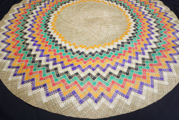Natural Colorful Circular Mat - Woven Crafts