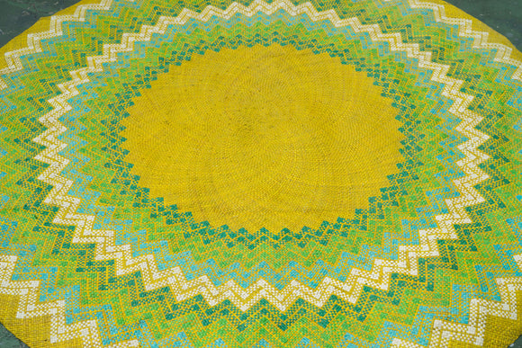 Lime Green Circular Mat - Woven Crafts