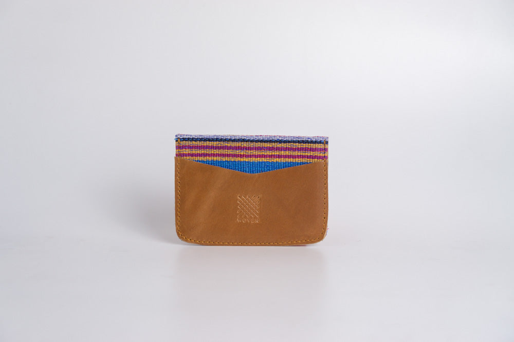 Marawi (Blue) Leather Card Holder - Woven Crafts