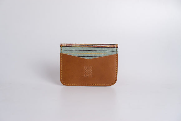 Kalinga (Mint Green) Leather Card Holder - Woven Crafts